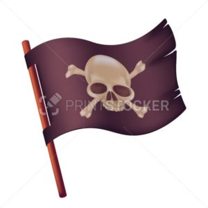 Black waving flag with image of human skull and crossed bones. Vector illustration of torn pirate banner on a wooden stick isolated on white background - PrintStocker.com