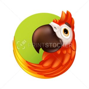 Cartoon tropical bird logo or label. Cute ara parrot with big beak. Vector illustration of funny colorful macaw mascot character isolated on white background - PrintStocker.com