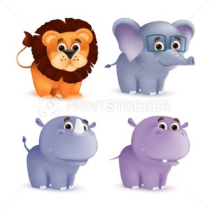 Cute standing and smiling cartoon baby characters set – rhino, lion, elephant, hippo. Vector illustration of an African wildlife mascot newborn animals isolated on white background - PrintStocker.com