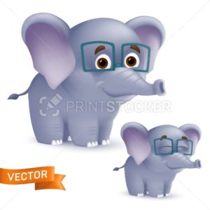 Cute standing and smiling cartoon baby elephant character in glasses. Vector illustration of an african wildlife mascot newborn animal isolated on white background - PrintStocker.com