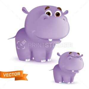 Cute standing and smiling cartoon baby hippo character. Vector illustration of an african wildlife mascot newborn animal isolated on white background - PrintStocker.com
