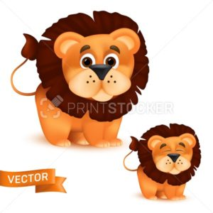Cute standing and smiling cartoon baby lion character. Vector illustration of an african wildlife mascot newborn animal isolated on white background - PrintStocker.com