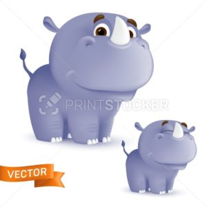 Cute standing and smiling cartoon baby rhino character. Vector illustration of an african wildlife mascot newborn animal isolated on white background - PrintStocker.com