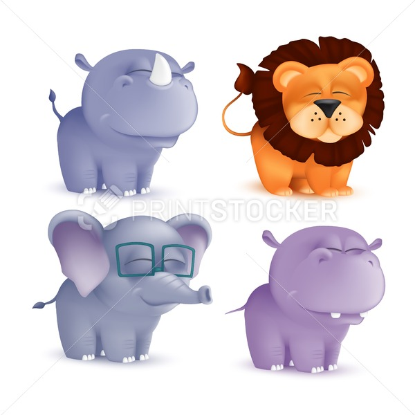 Cute standing and squinting cartoon baby characters set – rhino, lion, elephant, hippo. Vector illustration of an African wildlife mascot newborn animals isolated on white background - PrintStocker.com