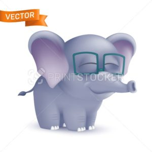 Cute standing and squinting cartoon baby elephant character in glasses. Vector illustration of an african wildlife mascot newborn animal isolated on white background - PrintStocker.com