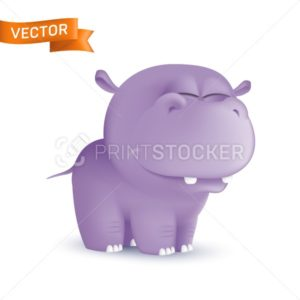 Cute standing and squinting cartoon baby hippo character. Vector illustration of an african wildlife mascot newborn animal isolated on white background - PrintStocker.com