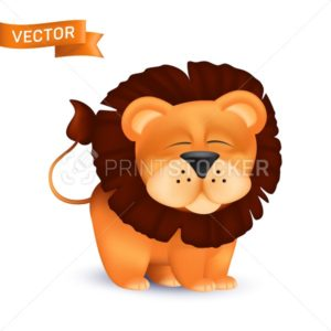 Cute standing and squinting cartoon baby lion character. Vector illustration of an african wildlife mascot newborn animal isolated on white background - PrintStocker.com