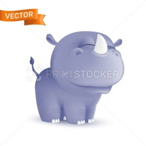 Cute standing and squinting cartoon baby rhino character. Vector illustration of an african wildlife mascot newborn animal isolated on white background - PrintStocker.com