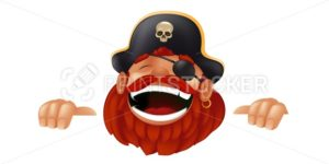Funny cartoon pirate character laughing, sticking, and holding an empty sign or banner. Vector illustration with hiding and peeking captain mascot isolated on white background - PrintStocker.com