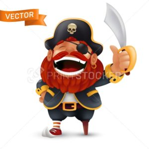 Funny laughing red-bearded pirate character with saber or sword in a three-corned hat with a human skull. Vector cartoon mascot illustration isolated on white background - PrintStocker.com