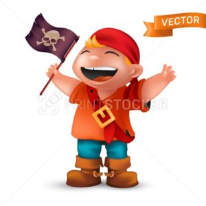 Happy pirate boy with jolly Roger or crossed bones skull on black waving flag. Vector illustration of laughing kid character dressed in orange t-shirt and red headscarf isolated on white background - PrintStocker.com