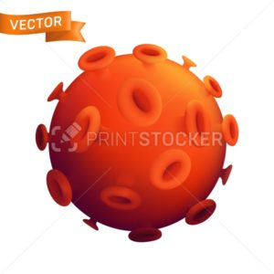 Infected red virus cell. Vector 3d realistic close up illustration of computer microbe, Coronavirus Covid-19 or human allergy bacteria isolated on white background - PrintStocker.com