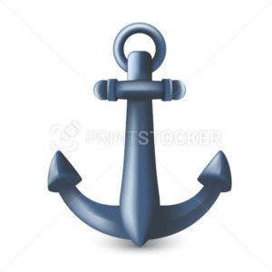 Nautical maritime blue metal anchor 3D symbol or icon. Vector illustration of vessel mooring device or heavy ship attribute isolated on white background - PrintStocker.com