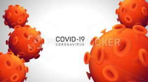 Novel Coronavirus realistic 3d red viral cell. Horizontal web banner concept. Vector illustration with a microscopic view of 2019-nCoV bacteria on grey background - PrintStocker.com