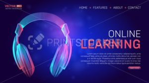 Online learning education landing page or banner template. Vector illustration in technology line art style with abstract purple headphones on dark blue background for training course website design - PrintStocker.com