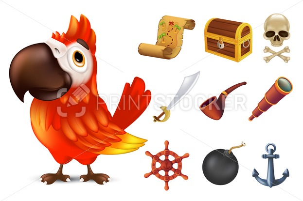 Sea pirate icon set with cute red ara parrot character, human skull, saber, anchor, steering wheel, spyglass, black bomb, pipe, ancient chest and treasure map. Vector illustration isolated on white - PrintStocker.com