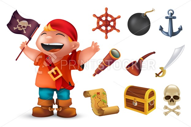 Sea pirate icon set with happy boy character, human skull, saber, anchor, steering wheel, spyglass, bomb, pipe, black jolly roger flag, chest and treasure map. Vector illustration isolated on white - PrintStocker.com