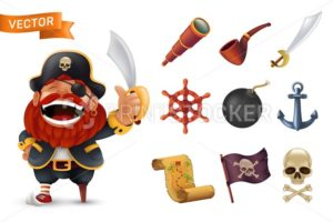 Sea pirate icon set with red-bearded captain character, human skull, saber, anchor, steering wheel, spyglass, bomb, pipe, black jolly roger flag and treasure map. Vector illustration isolated on white - PrintStocker.com