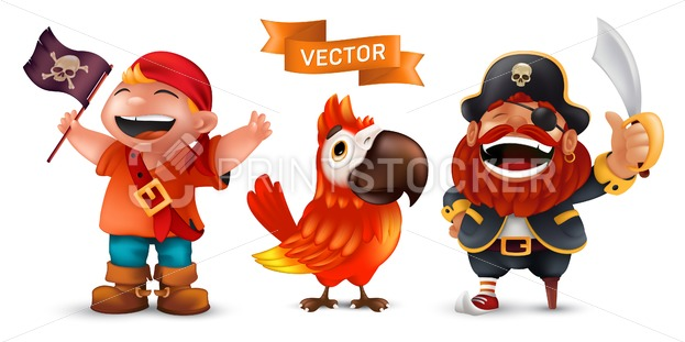 Sea pirate in captain hat with saber, funny ara macaw parrot and happy laughing boy in a red scarf with black flag vector set isolated on white background - PrintStocker.com