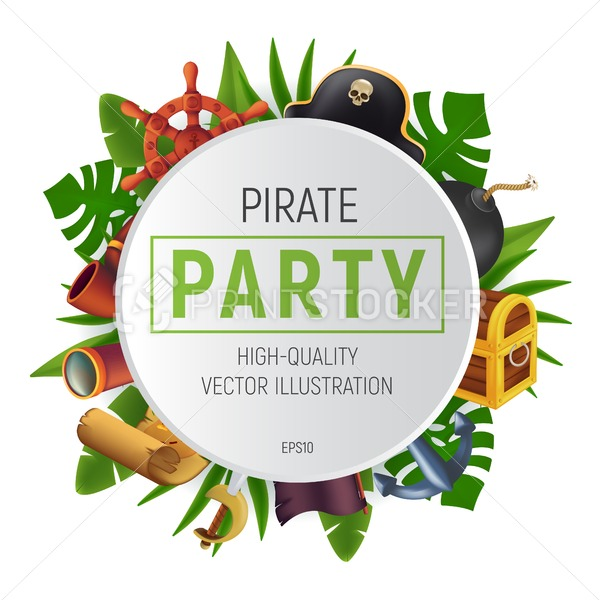 Sea pirate party round frame with tropical leaves, saber, anchor, steering wheel, spyglass, black bomb, pipe, ancient chest, flag and treasure map. Vector illustration isolated on white background - PrintStocker.com