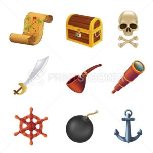Sea pirate web icon set with human skull, saber, anchor, steering wheel, spyglass, black bomb, pipe, ancient chest and treasure map. Vector illustration isolated on white background - PrintStocker.com