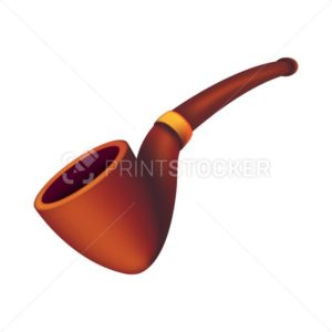Smoking brown empty tobacco pipe. Vector illustration of a wooden old-fashioned accessory of some detective isolated on white background - PrintStocker.com