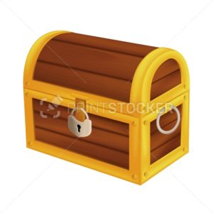 Treasure wooden pirate chest. Isometric vector illustration of vintage closed money trunk with metal padlock and handle isolated on white background - PrintStocker.com