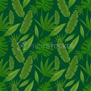 Tropical seamless pattern with green palm tree leaves. This vector illustration can be used in print, textile, fabric or any graphic design layouts - PrintStocker.com
