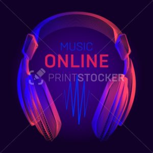 Acoustic headphones wireframe and online music title with neon radio wave contour. Vector illustration with outline portable earphones or dj headset device in line art style on dark blue background - PrintStocker.com