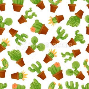 Cute mexican cactus seamless pattern with different types of cacti. Vector illustration with exotic desert houseplants and succulents isolated on white background, Great for fabric or wrapping paper - PrintStocker.com