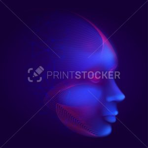 Cyber robotic human face consisting of lines, mesh and polygons. Futuristic digital artificial intelligence or facial recognition vector illustration with android virtual head on dark blue background - PrintStocker.com