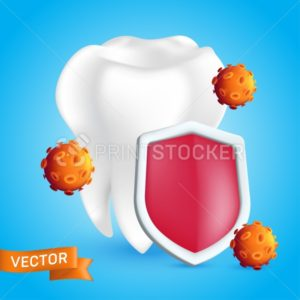 Dental care concept. White healthy and clean human tooth protected by a shield that reflects germs and bacteria. Realistic 3D style vector illustration isolated on a blue background - PrintStocker.com