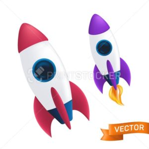 Flying rocket with a flame or fire from the turbine. Vector illustration with launch of a spaceship or shuttle isolated on white background - PrintStocker.com
