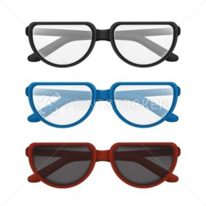 Folded glasses set with colorful frames – black, blue, red. Vector illustration of elegant classic eyewear for reading or sun protection with transparent lens isolated on white background - PrintStocker.com