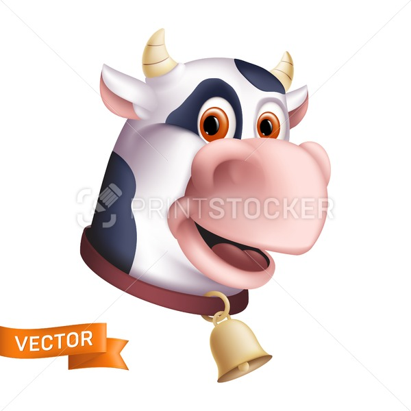 Funny smiling cow character. Cartoon mascot head. Vector illustration of a horned domestic animal with a golden bell isolated on a white background. Great for a graphic design to the world milk day - PrintStocker.com