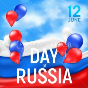 Greetings banner or poster for the national Russian holiday independence Day. Vector illustration with the waving tricolor flag and multicolored balloons on the blue sky background - PrintStocker.com