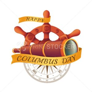 Happy Columbus Day celebrating emblem – America discover holiday symbol. Vector illustration with antique steering wheel, spyglass, ancient compass and golden ribbon isolated on white background - PrintStocker.com