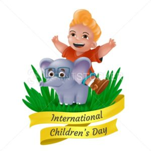 Happy International Children's Day greeting card with laughing little boy sitting on elephant in glasses and yellow ribbon. Vector illustration with funny mascot character isolated on white background - PrintStocker.com