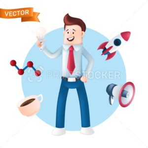 Happy businessman with icons around him – rocket, cup, megaphone. Vector illustration of smiling office manager dressed in a blue shirt with a tie, showing or holding a light bulb isolated on white - PrintStocker.com