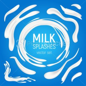 Milk splashes vector set. 3D realistic liquid natural dairy products in various shapes, organic drink yogurt swirls or creamy waves and white drops isolated on blue background - PrintStocker.com