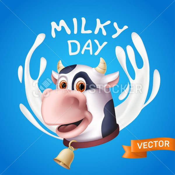 Milky day inscription consisting of white yogurt splashes and the smiling cow cartoon character head. Vector illustration of a horned domestic animal with a golden bell on a blue background - PrintStocker.com