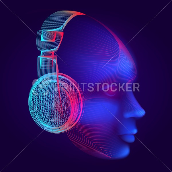 Neon cyber dj or robot head with outline electronic headphones wireframe. Artificial intelligence vector illustration with abstract human face in technology line art style on dark blue background - PrintStocker.com