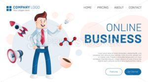 Online business landing page design concept. Vector illustration of smiling office manager dressed in a blue shirt with a tie, showing on a light bulb with icons around him – rocket, cup, megaphone - PrintStocker.com