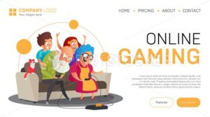 Online gaming landing page or banner template. Vector illustration in flat style with funny grandparents play video games with their grandchildren while sitting on the sofa isolated on white - PrintStocker.com