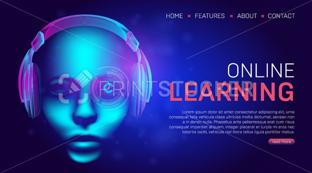 Online learning education landing page or banner template. Vector illustration in technology lineart style with abstract wireframe of headphones and human face or cyborg head on a dark blue background - PrintStocker.com