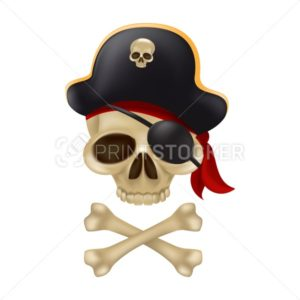 Pirate skull with crossbones in the captain's hat. 3D sign or buccaneer emblem. Funny vector illustration of jolly roger with a red bandana and black blindfold isolated on white background - PrintStocker.com