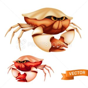 Realistic red tropical crab with big claws and funny cartoon eyes. Vector illustration of cute sea shellfish isolated on white background - PrintStocker.com