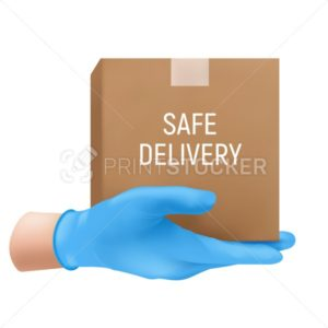 Safe delivery concept with a human hand in a blue rubber glove holding cardboard box. Vector illustration of shipping service isolated on white background - PrintStocker.com