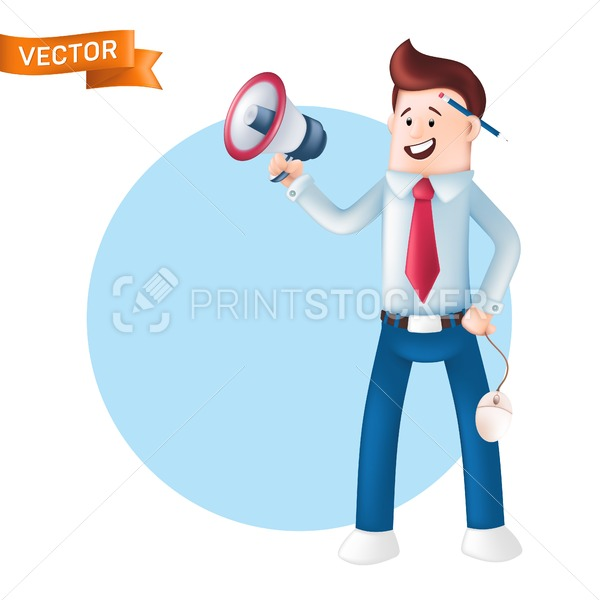 Smiling businessman dressed in a blue shirt with a tie holding megaphone and shouting in it. Vector character of happy office manager with a bullhorn, computer mouse in hand and pencil behind the ear - PrintStocker.com