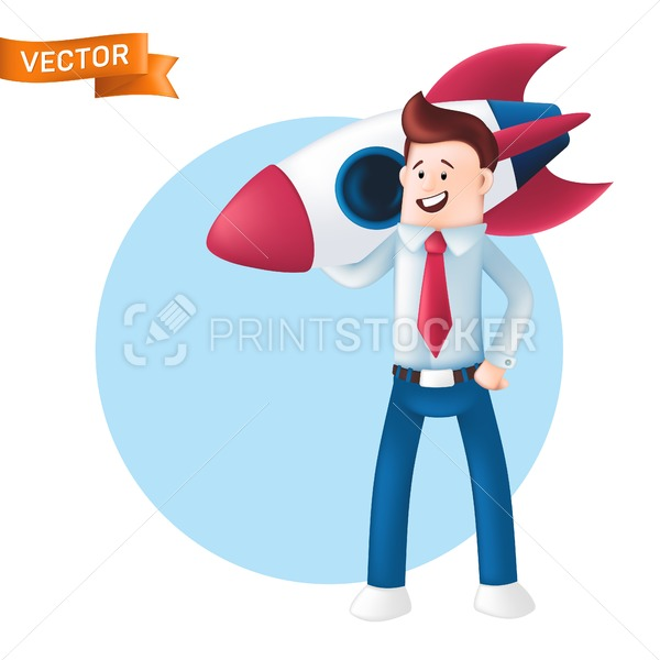 Smiling businessman dressed in a blue shirt with a tie holds the rocket on his shoulder. Vector character of a happy office manager or team leader with a space shuttle isolated on white background - PrintStocker.com